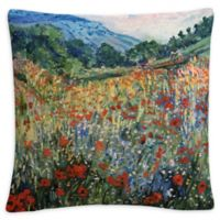 Field of Flowers Square Throw Pillow in Green
