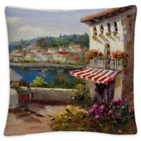 Italian Afternoon Square Throw Pillow in Beige