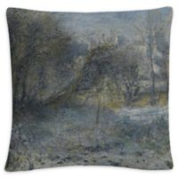 Snowy Landscape Square Throw Pillow in Grey