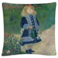 Girl With a Water Can Square Throw Pillow in Green