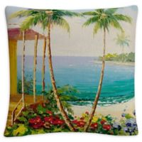 Rio Key West Villa Square Throw Pillow in Blue