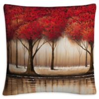 Parade of Trees Square Throw Pillow in Red