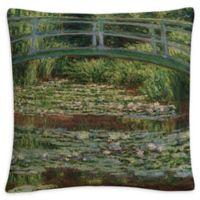 Japanese Bridge Square Throw Pillow in Green