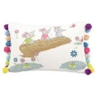 Mina Victory Three Mice on a Log Oblong Throw Pillow in White
