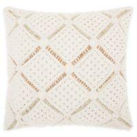 Mina Victory Macrame Dimonds Square Throw Pillow in White