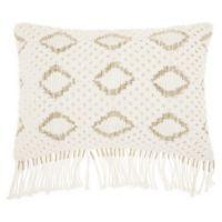 Mina Victory Macrame Diamonds Oblong Throw Pillow in White