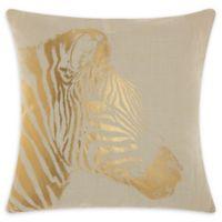 Mina Victory Metallic Zebra Square Throw Pillow in Beige/Gold