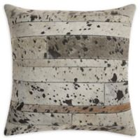 Mina Victory Hide Acid Wash Square Throw Pillow in Silver