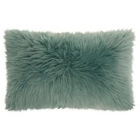 Mina Victory Faux Fur Oblong Throw Pillow in Celadon