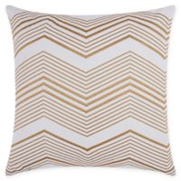 Mina Victory Thin Chevron Square Throw Pillow in Gold
