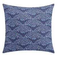 Fan Dance Square Throw Pillow in Blue