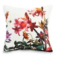 Color Me Floral Square Throw Pillow in White