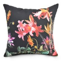Color Me Floral Square Throw Pillow in Black
