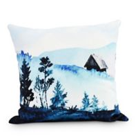Over The Hills Square Throw Pillow in Blue