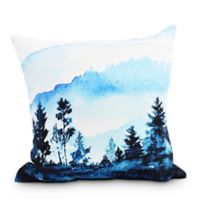 Mountain Forrest Square Throw Pillow in Blue