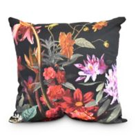 Floral Craze Square Throw Pillow in Black
