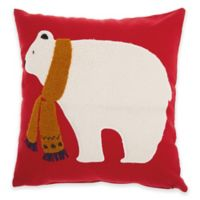 Mina Victory Christmas Polar Bear Square Throw Pillow in Red