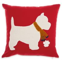 Mina Victory Christmas Scotty Square Throw Pillow in Red