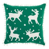 Mina Victory Christmas Reindeer Square Throw Pillow in Green
