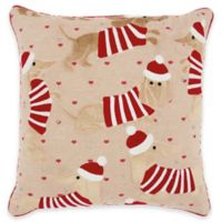 Mina Victory Christmas Dachshund Square Throw Pillow in Beige