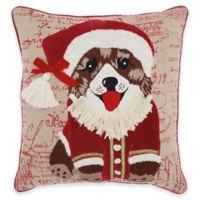 Mina Victory Santa Puppy Square Throw Pillow