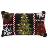 Mina Victory Christmas Grid Oblong Throw Pillow in Cream