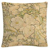 Trademark Fine Art Alphonse Mucha Peonies Square Throw Pillow