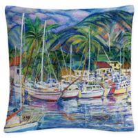 Manor Shadian Lahaina Marina Square Throw Pillow