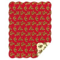 Holly Reversible Holiday Throw Blanket