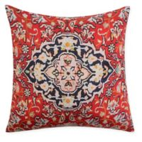 Casablanca Textured Embroidered Damask Square Toss Pillow in Orange/Red