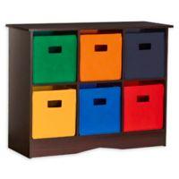 RiverRidge 6-Bin Kid's Storage Cabinet in Espresso/Primary Colors