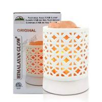 Himalayan Glow Basket Ceramic Usb White Salt Lamp in Pink/natural