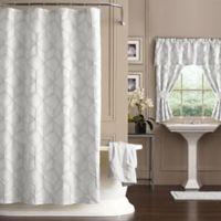 Horizons 72-Inch x 72-Inch Geometric Shower Curtain in White