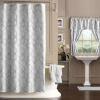 Horizons 72 Inch X 84 Geometric Shower Curtain In Silver