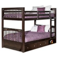 Hillsdale Furniture Pulse Full Over Full Bunk Bed with Storage in Chocolate