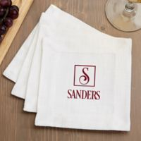 Square Monogram Cloth Cocktail Napkins (Set of 4)