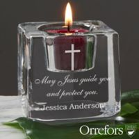 Orrefors Engraved Cross Ice Cube Votive Candle Holder