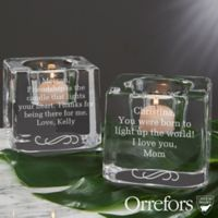 Orrefors Engraved Message Ice Cube Votive Candle Holder