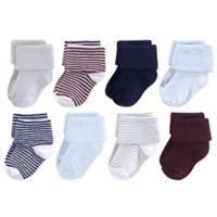 Luvable Friends® 6-12M 8-Pack Stripe Cuff Socks in Blue