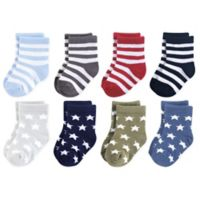 Luvable Friends® Size 12-24M 8-Pack Stars Crew Socks in Black/Blue
