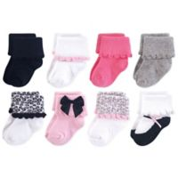 Luvable Friends® Size 0-6M 8-Pack Dressy Cuff Socks in Pink/Grey