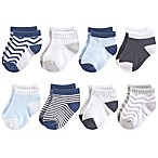Luvable Friends® Size 0-6M 8-Pack No Show Socks in Grey/Blue Chevron