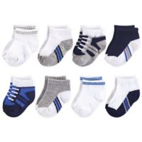 Luvable Friends™ Size 12-24M 8-Pack No Show Sneaker Socks in Blue
