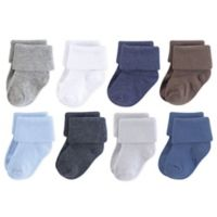 Luvable Friends® Size 0-6M 8-Pack Solid Cuff Socks in Blue
