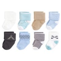 Touched by Nature Size 0-6M 8-Pack Organic Cotton Teepee Terry Sock in Blue/White