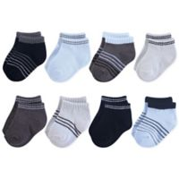 Hudson Baby® 6-12M 8-Pack No Show Socks in Blue