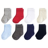 Luvable Friends Size 0-6M 8-Pack Solid Crew Socks in Grey