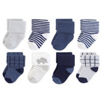 Touched by Nature Size 6-12M 8-Pack Organic Cotton Terry Elephant Socks in Blue