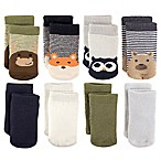 Luvable Friends™ Size 0-6M 8-Pack Cotton Terry Fox/Owl Crew Socks