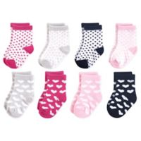 Luvable Friends® Size 12-24M 8-Pack Hearts Crew Socks in Black/Pink